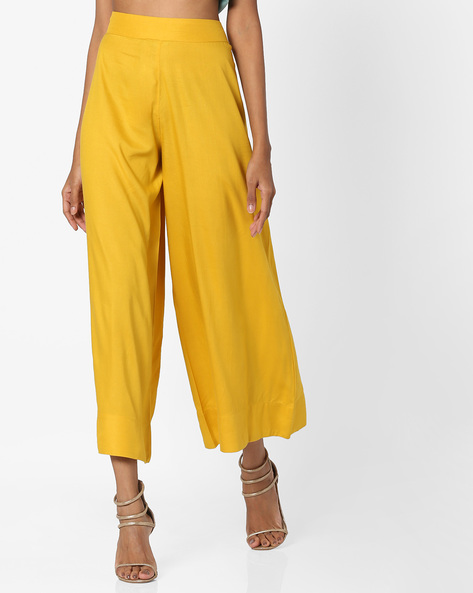 Mid-Rise Palazzo Pants By AJIO ( Olive )