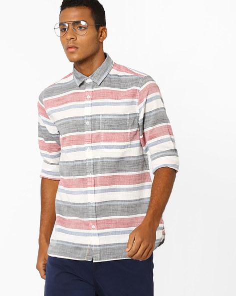 Striped Slim Fit Shirt By Jack & Jones ( Maroon )