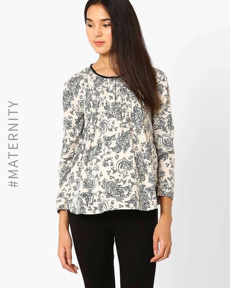 Floral Print Maternity Top By Preggear ( Cream )