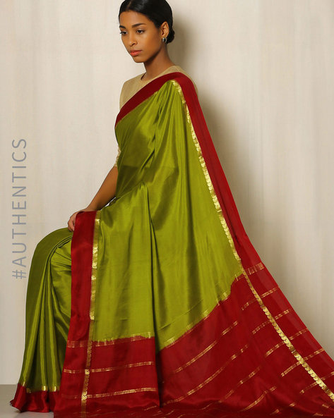 Pure Mysore Silk Crepe Saree By Indie Picks ( Blue )