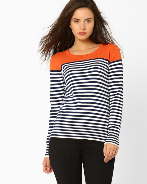 Striped Top With Contrast Yoke By Teamspirit ( Orange )