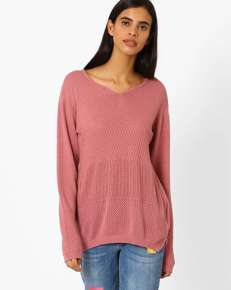 Knitted Pullover With Drop-Shoulders By AJIO ( Pink )