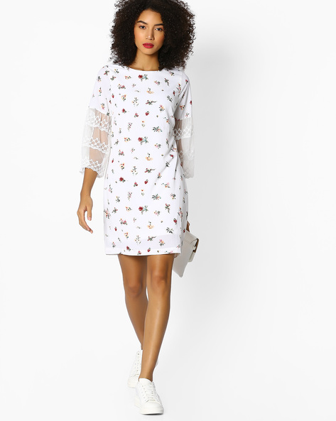 Floral Print Dress With Panelled Lace Sleeves By FIG ( Offwhite )