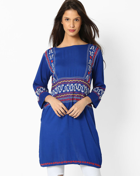 Straight Tunic With Embroidery By Shakumbhari ( Blue )