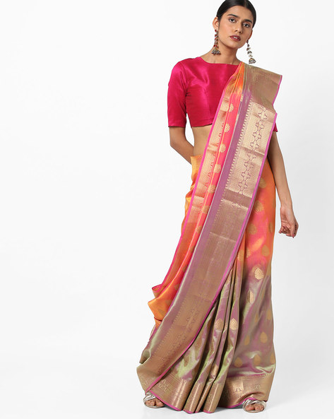 Dual-Toned Banarasi Silk Saree With Zari Work By Viva N Diva ( Pink )