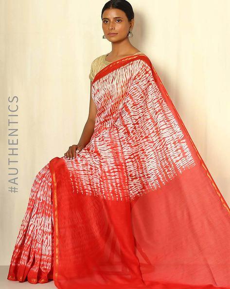 Shibori Tie-Dye Chanderi Saree With Zari Border By Indie Picks ( Multi ) - 460053716001