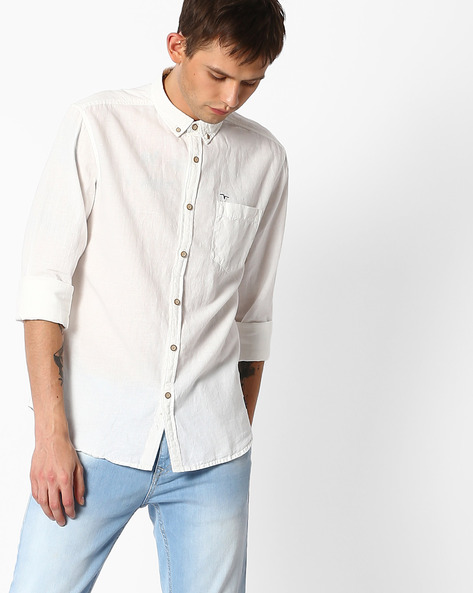 Shirt With Button-Down Collar By FLYING MACHINE ( Offwhite )