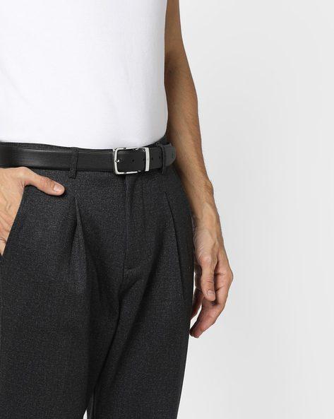 Textured Genuine Leather Belt By ALVARO CASTAGNINO ( Black ) - 460135788001