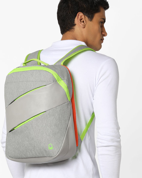 Panelled Backpack With Contrast Zippers By UNITED COLORS OF BENETTON ( Grey )