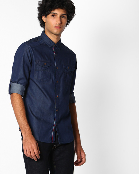 Lightly Washed Slim Fit Shirt By The Indian Garage Co ( Navyblue )