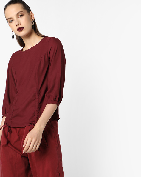 Top With Hem Tie-Ups By Oxolloxo ( Maroon )