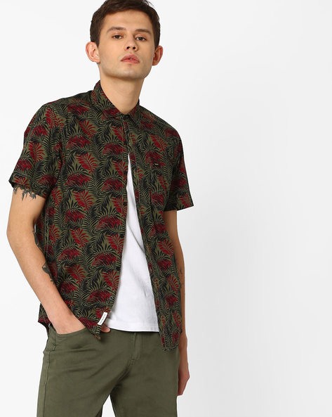 Tropical Print Slim Fit Shirt By Lee ( Olive )