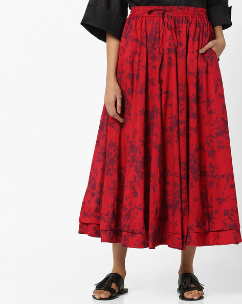 Floral Print Midi Skirt By Project Eve IW Casual ( Red )