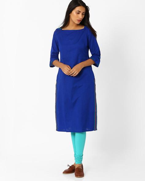 Straight Kurta With Side Pocket By AJIO ( Blue )