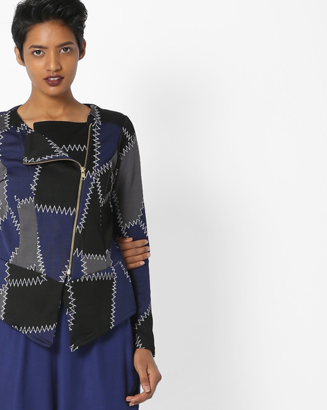 Patch Print Jacket With Front Zipper By And ( Ltblue )