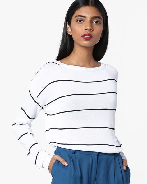 Striped Top With Ribbed Hems By AJIO ( White )