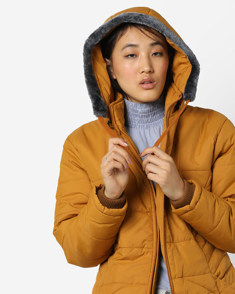 Hooded Quilted Jacket By Fort Collins ( Mustard )