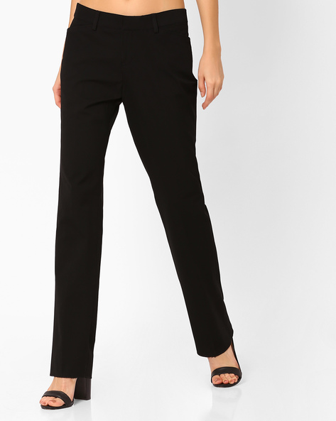 Mid-Rise Flat-Front Trousers By Annabelle By Pantaloons ( Black )