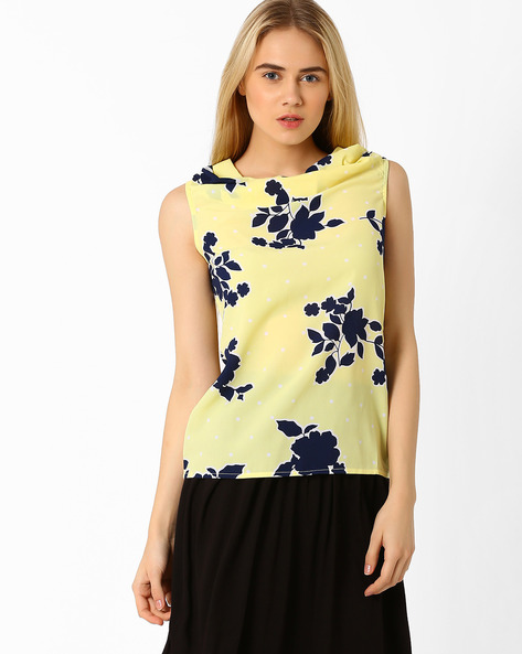 Floral Print Sleeveless Top By Annabelle By Pantaloons ( Yellow )