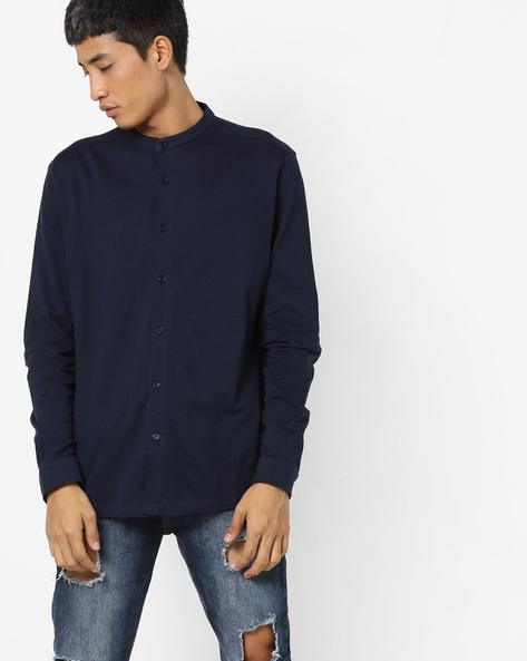 Knitted Slim Fit Shirt By ADAMO LONDON ( Navy )