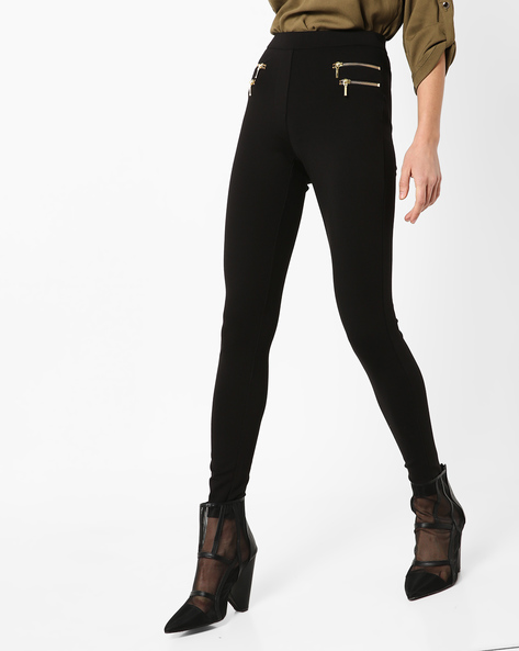 High-Waist Leggings With Zipper By Only ( Black )