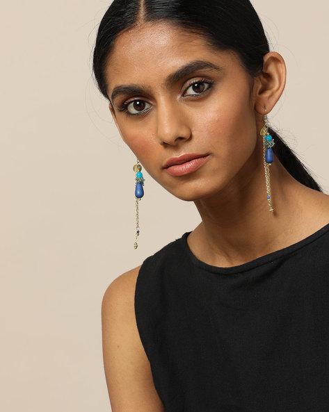 Beaded Dangler Earrings By Indie Picks ( Blue ) - 460189665001