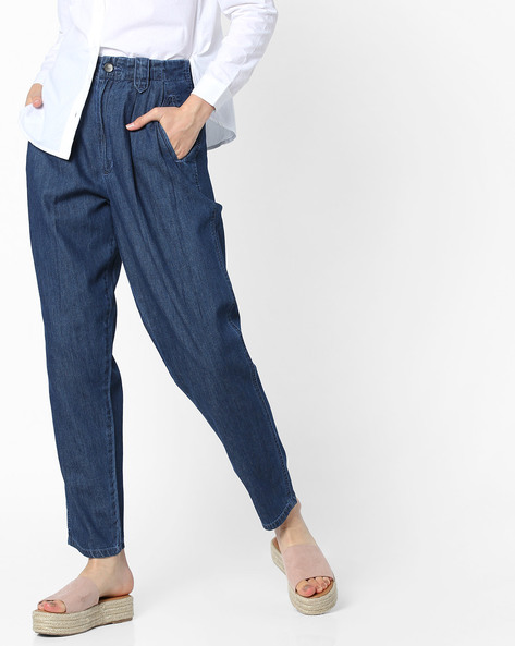 Mid-Rise Jeans With Pleated Front By AJIO ( Darkblue )