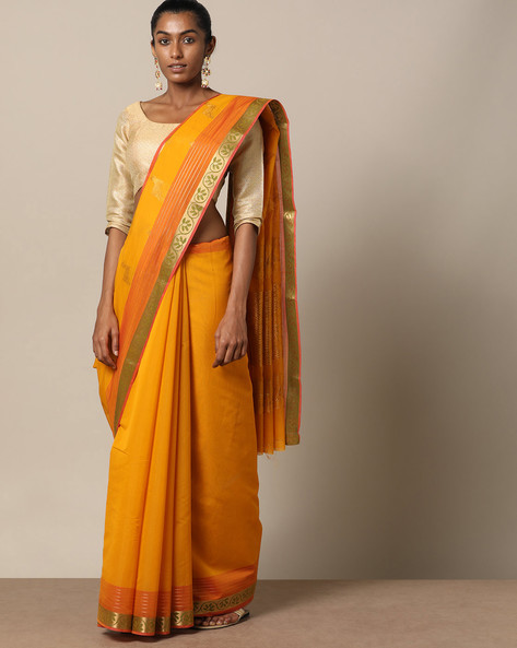 Uppada Style Mercerised Cotton Saree With Zari Buti By Indie Picks ( Lgtyellow )