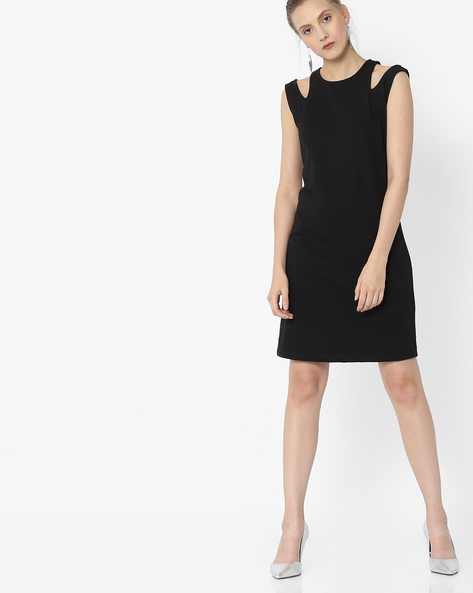 Sleeveless Shift Dress With Cut-Outs By ANONYMOUS CO ( Black )