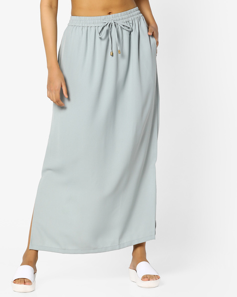 Maxi Skirt With Slits By PE WW Casual ( Ltblue )