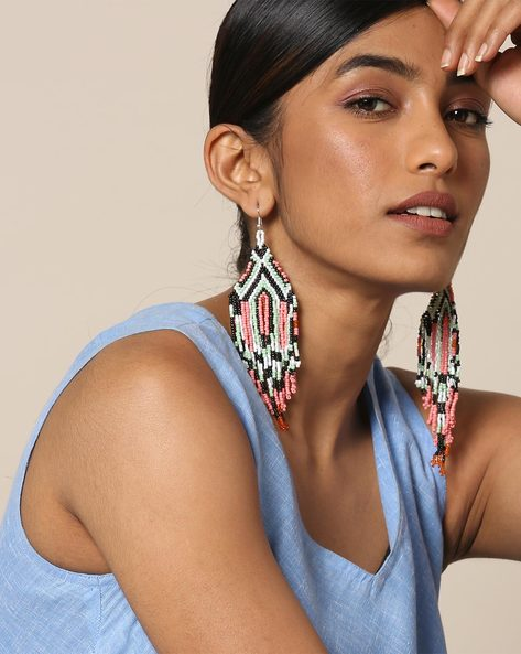 Statement Beaded Dangler Earrings By Indie Picks ( Multicolour ) - 460167628001