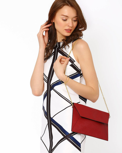 Saffiano Envelope Sling Bag By AJIO ( Maroon )
