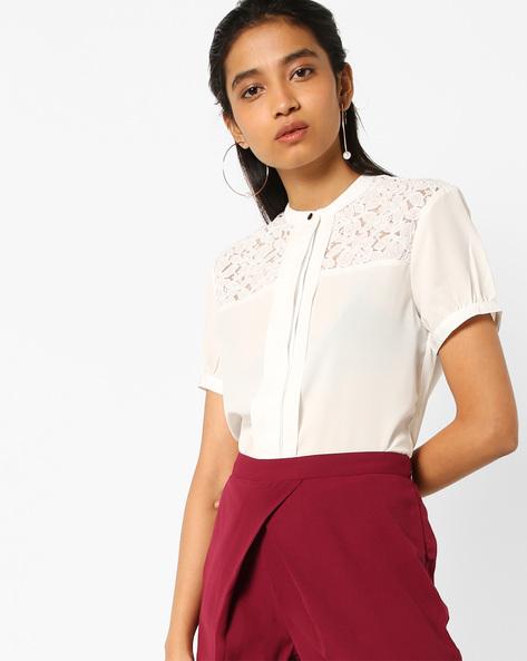 Band Collar Shirt With Lace Yoke By AJIO ( White )