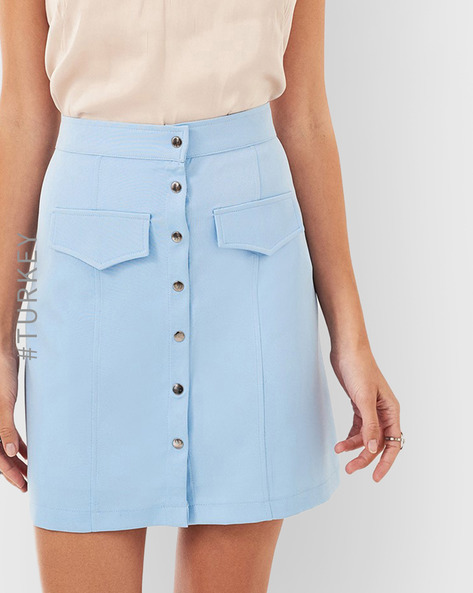 Button-Front Pencil Skirt By TRENDYOL ( Blue )