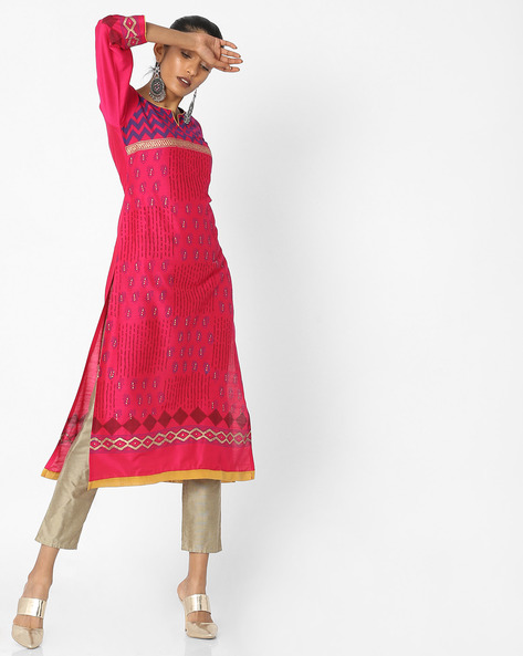 All-Over Print Straight Kurta By KIMONO ( Fuschia )