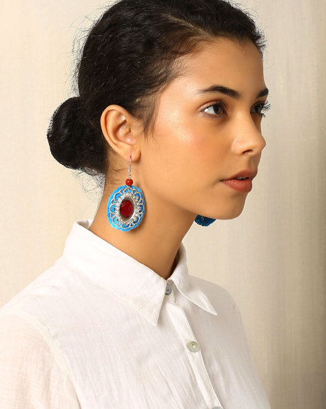 Circular Beaded Metal Drop-Earrings By Indie Picks ( Blue )