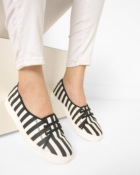 Canvas Striped Slip-On Casual Shoes By ADORLY ( Black )