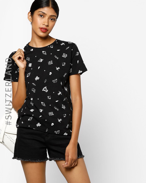 Graphic Print Crew-Neck T-shirt By TALLY WEiJL ( Black )