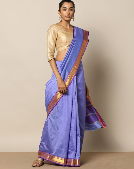 South Silk Striped Saree With Zari Border By Rudrakaashe-MSU ( Blue )