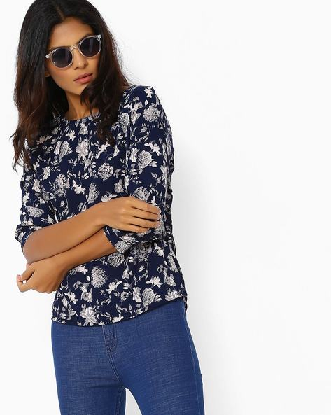 Top With Back-Button Placket By Femella ( Navyblue )