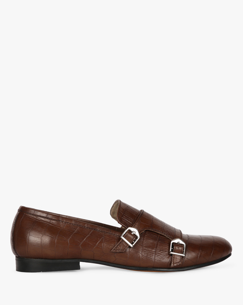 Genuine Leather Textured Formal Shoes By Modello Domani ( Darkbrown )