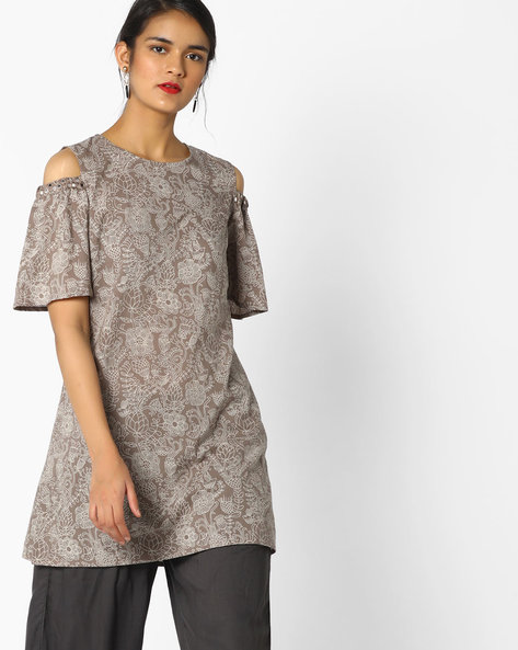 Floral Print Tunic With Cold Shoulders By AJIO ( Grey )