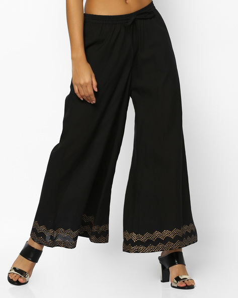 Palazzos With Foil Print Hems By PE IW Evening ( Black )