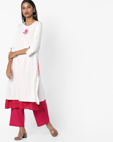 Layered Kurta With Embroidery By AJIO ( Offwhite )