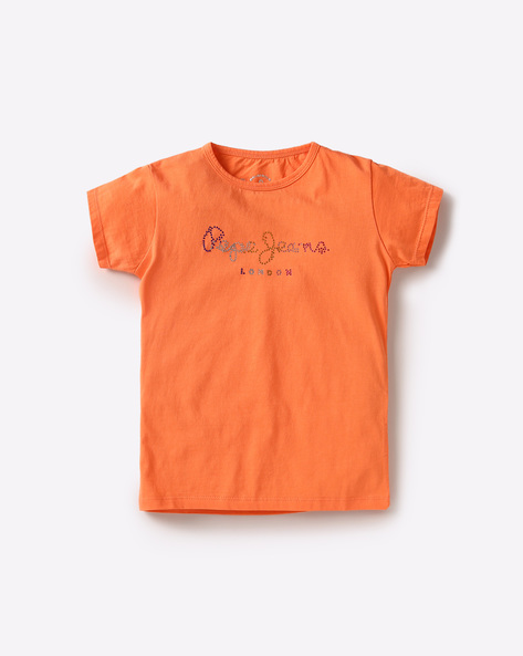 Cotton T-shirt With Embellished Branding By PEPE ( Pink )
