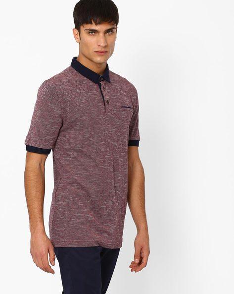 Heathered Polo T-shirt By NETPLAY ( Maroonburg )
