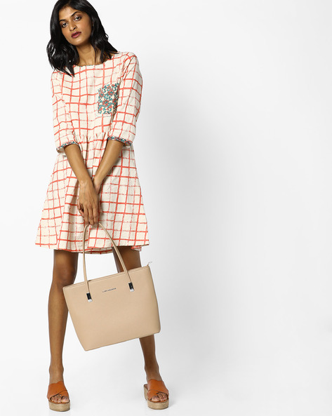 Checked Fit & Flare Dress With Floral Print Pocket By AJIO ( Coral )