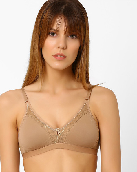 Non-Padded Bra With Lace By Zivame ( Beige )