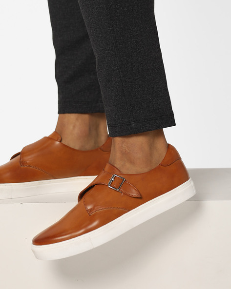 Slip-On Sneakers With Buckle By AJIO ( Tan )