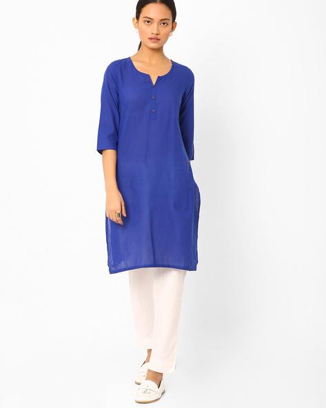 Cotton Straight Kurta By AURELIA ( Blue )